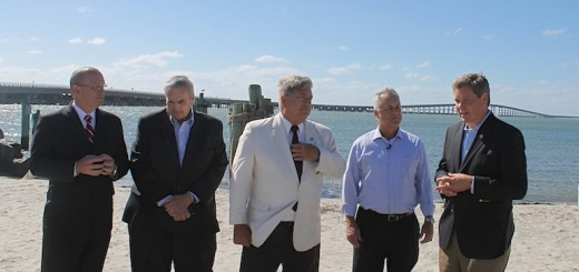 State officials at Hatteras Inlet press conference, Tuesday, September 21. L to R: Chief Deputy Secretary of Operations, Jim Trogdon; Warren Judge, Chair Dare County Commissioners; State Senator Bill Cook; State Transportation Secretary Tony Tata; State Representative Paul Tine.