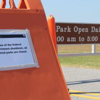 Closure sign at Wright Memorial Monument.
