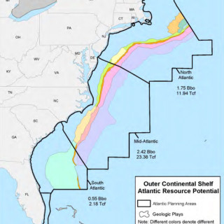 BOEM map showing lease areas in blocks and areas considered most likely to yield petroleum resources.