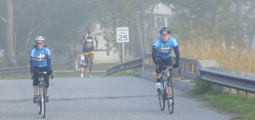 Coming over the Moor Shore Road bridge in Kitty Hawk with race winner Will Christian in the lead.