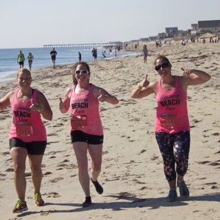 Team Clever Beaches, running the 5-mile race. Left to Right: Holly Schnader, Caitlin Anderson, Natalie Dutt.